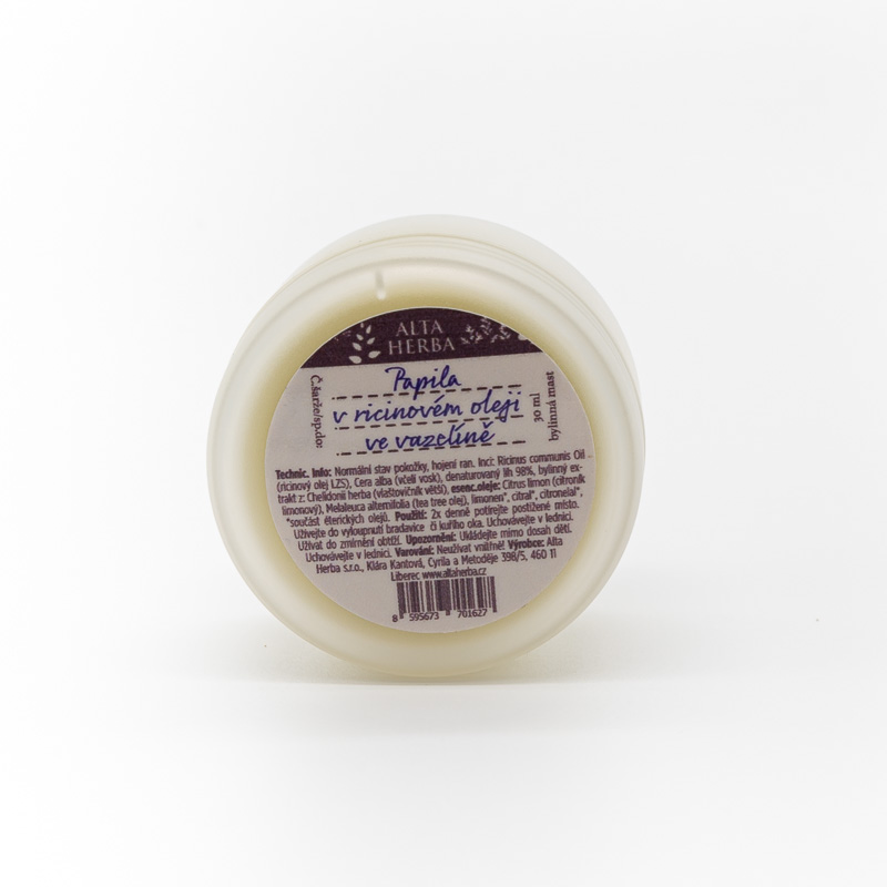 Papila v ricinovém oleji ve vazelíně