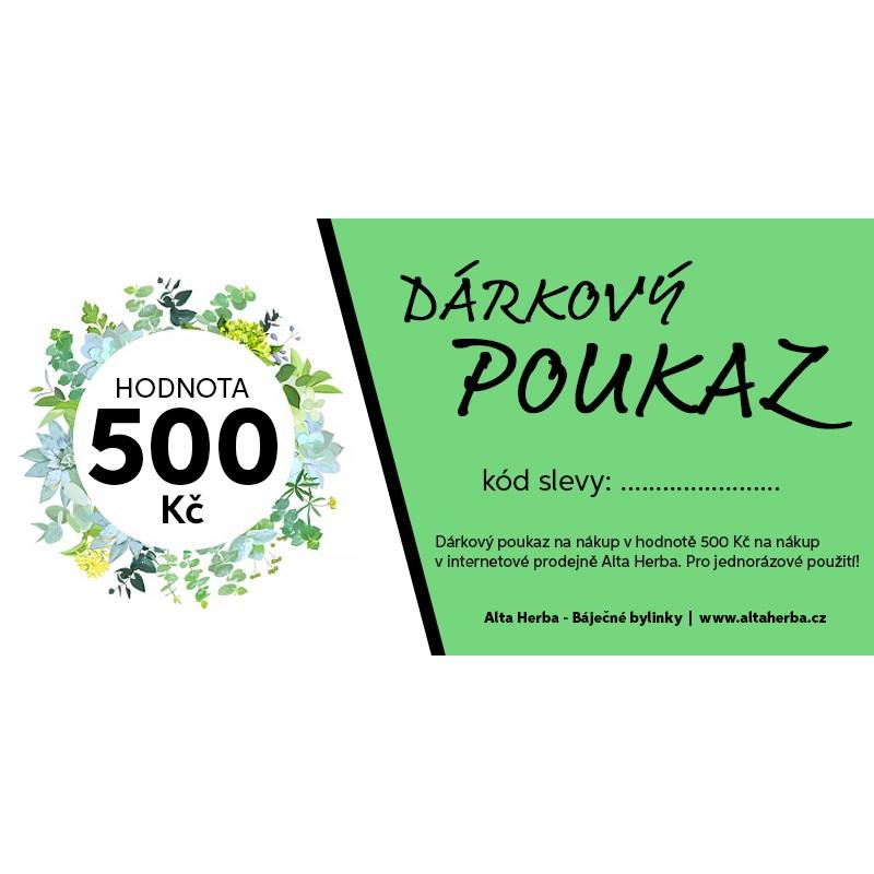 Dárkové poukazy v hodnotě 500 Kč a 1000 Kč